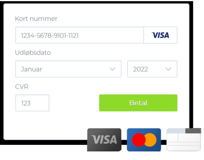 Betal med betalingskort eller bankoverførsel